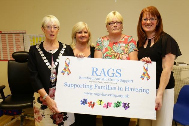 Deputy Mayor of Havering Cllr Linda Van Den Hende, Anne Myatt, Debbie Shelton and Mary Harvey from RAGS